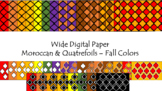 Digital Paper - Wide Moroccan & Quatrefoils - Fall Colors