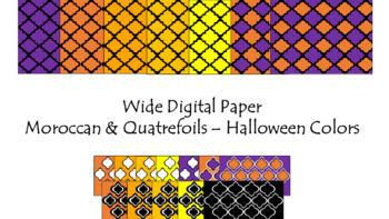Digital Paper - Wide Moroccan & Quatrefoils - Halloween Colors