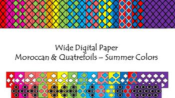 Digital Paper - Wide Moroccan & Quatrefoils - Summer Colors