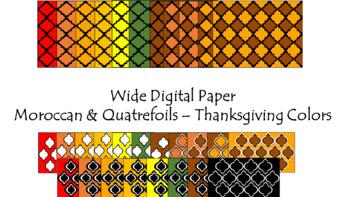 Digital Paper - Wide Moroccan & Quatrefoils - Thanksgiving Colors