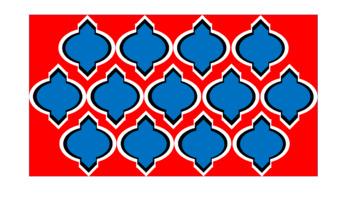 Digital Paper - Wide Moroccan & Quatrefoils - U.S.A. Patriotic Colors