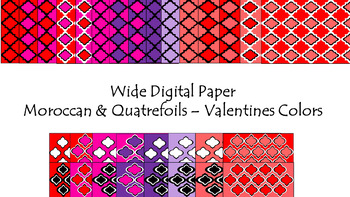 Digital Paper - Wide Moroccan & Quatrefoils - Valentines Colors