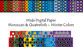 Digital Paper - Wide Moroccan & Quatrefoils - Winter Colors
