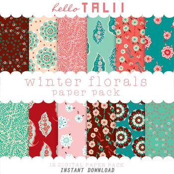 Digital Paper: Winter Florals