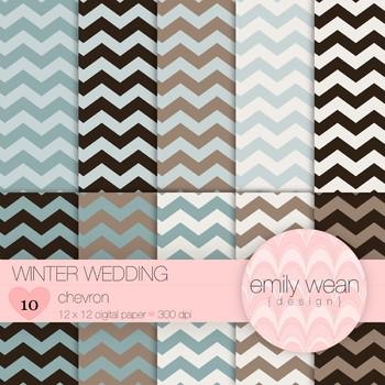 Winter Wedding - Digital Paper - Chevron Background