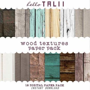 Digital Paper: Wood Textures Backgrounds