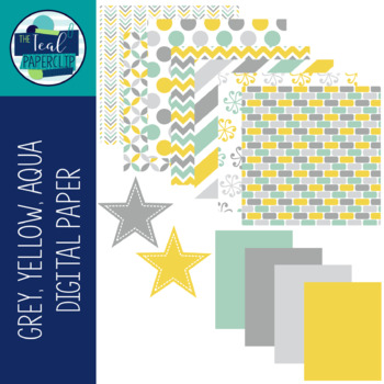Digital Paper Yellow, Grey, Aqua