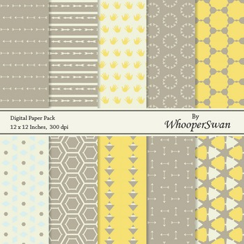 Digital Paper - Yellow Grey Brown Vintage