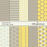 Digital Paper - Yellow Grey Brown Vintage