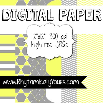Digital Paper - Yellow and Gray