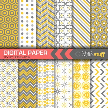 Digital Paper, Yellow and Gray Digital Backgrounds, Geometric Patterns