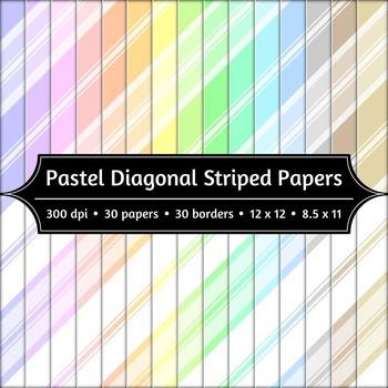 Digital Paper and Borders - Pastel Diagonal Stripes
