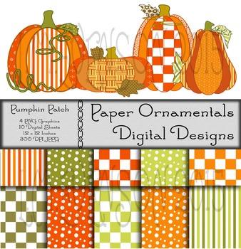 Digital Paper and Clip Art:  Pumpkin Patch