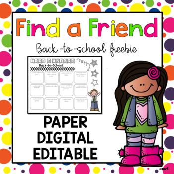 Find a Friend {Back-to-School} Digital, Paper, & Editable *Freebie*