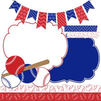 Digital Paper and Frame Baseball Mini Set