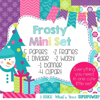 Digital Paper and Frame Christmas Mini Set Frosty