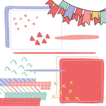 Digital Paper and Frame Kelsey Doodle Set