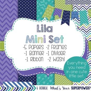 Digital Paper and Frame Lila Mini Set