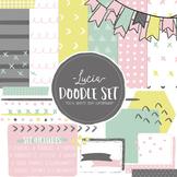 Digital Paper and Frame Lucia Doodle Set