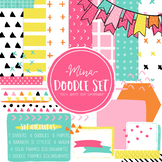 Digital Paper and Frame Mina Doodle Set