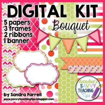 Digital Paper and Frame Mini Kit BOUQUET