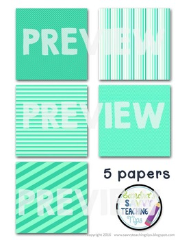 Digital Paper and Frame Mini Kit BRIGHT TEAL
