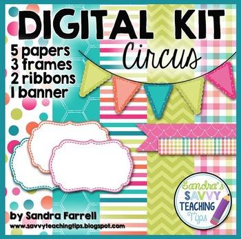 Digital Paper and Frame Mini Kit CIRCUS