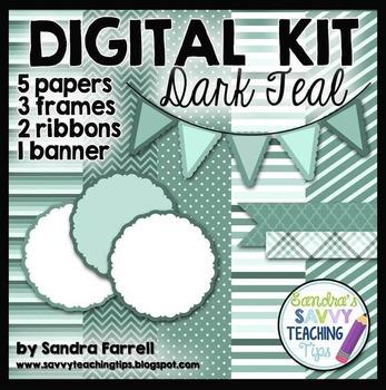 Digital Paper and Frame Mini Kit DARK TEAL