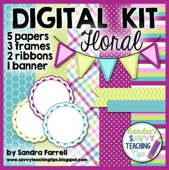 Digital Paper and Frame Mini Kit FLORAL