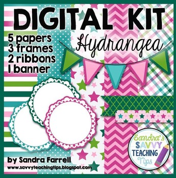 Digital Paper and Frame Mini Kit HYDRANGEA
