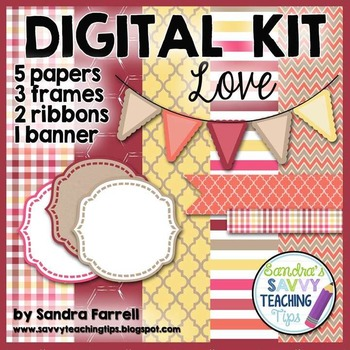 Digital Paper and Frame Mini Kit LOVE