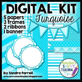 Digital Paper and Frame Mini Kit TURQUOISE
