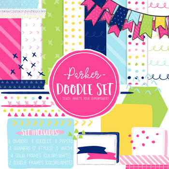 Digital Paper and Frame Parker Doodle Set
