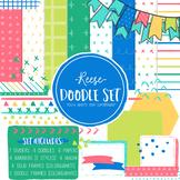 Digital Paper and Frame Reese Doodle Set