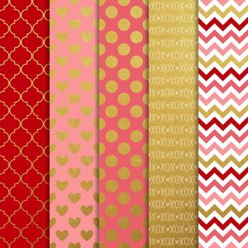 Digital Paper and Frame Ruby Valentines Mini Set