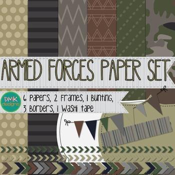 Digital Paper and Frame Set- Armed Forces