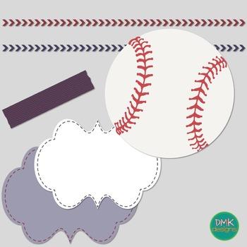 Digital Paper and Frame Set- Baseball