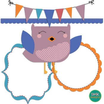 Digital Paper and Frame Set- Clipart- Sweet Owl