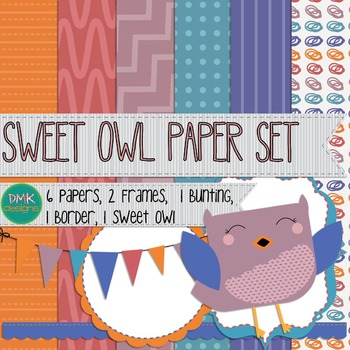 Digital Paper and Frame Set- Clipart- Sweet Owl