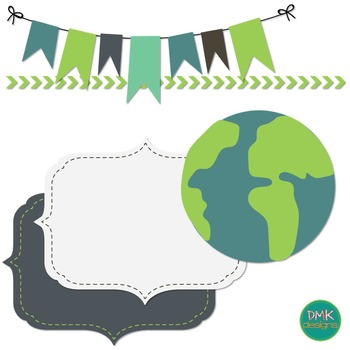 Digital Paper and Frame Set- Earth Day by DMK Designs | TpT