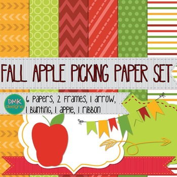 Digital Paper and Frame Set- Fall Apple Picking