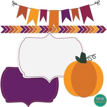 Digital Paper and Frame Set- Fall Pumpkin