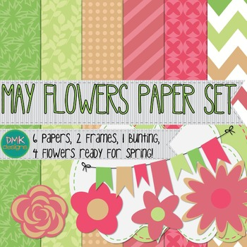 Digital Paper and Frame Set- May Flowers