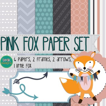 Digital Paper and Frame Set- Pink Fox