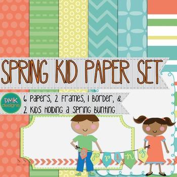 Digital Paper and Frame Set- Spring Kids