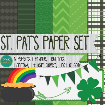 Digital Paper and Frame Set- St. Pat's Day- St. Patrick's Day
