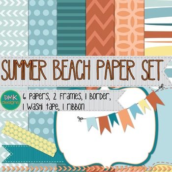Digital Paper and Frame Set- Summer Beach