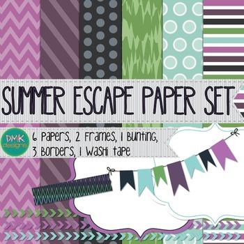 Digital Paper and Frame Set- Summer Escape
