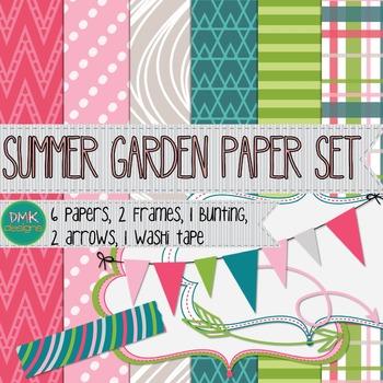 Digital Paper and Frame Set- Summer Garden