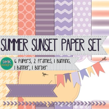 Digital Paper and Frame Set- Summer Sunset